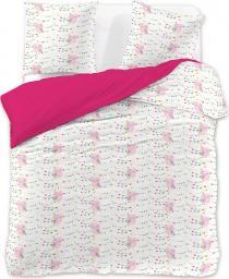 Pościel Owly 135x200 cm + poduszka 80x80 cm biało-różowa