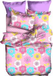 Pościel Teddy 135x200 cm + poduszka 80x80 cm różowa
