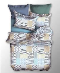 Pościel Muster 155x220 cm + poduszka 80x80 cm biało-beżowa