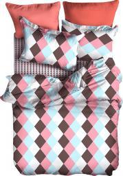 Pościel Geo 135x200 cm + poduszka 80x80 cm biało-różowa