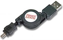 Kabel USB LINDY Mini USB, Type B (M) - USB Type A, 4-pin 80cm  (31618)