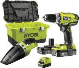 Ryobi Wiertarko-wkrętarka RCD18 18V + odkurzacz ręczny 18 V + ładowarka i 2 x akumulator 2Ah (RCD18-220VT)