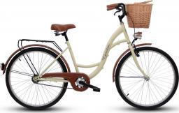 Goetze Rower miejski ECO 26″ kremowy z wiklinowym koszem