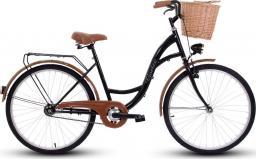 Goetze Rower miejski ECO 26″ czarno-brązowy z wiklinowym koszem