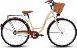 Goetze Rower miejski ECO 28″ kremowy z wiklinowym koszem
