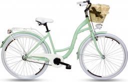 """Goetze Rower miejski Style 28"""" trzybiegowy miętowy z wiklinowym koszem"""