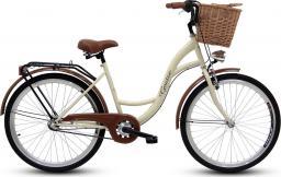 Goetze Rower miejski Classic 26″ trzybiegowy kremowy z wiklinowym koszem