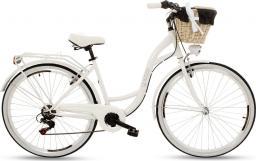 """Goetze Rower miejski Mood 28"""" sześciobiegowy biały z metalowym koszem"""