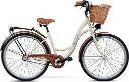 Goetze Rower miejski Classic 28″ trzybiegowy kremowy z metalowym koszem