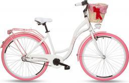 """Goetze Rower miejski Colours 28"""" trzybiegowy biały z wiklinowym koszem"""