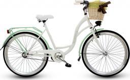 """Goetze Rower miejski Blueberry 26"""" biało-zielony z metalowym koszem"""