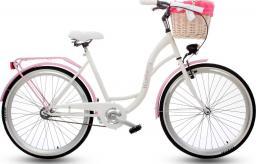 """Goetze Rower miejski Blueberry 26"""" biało-różowy z metalowym koszem"""