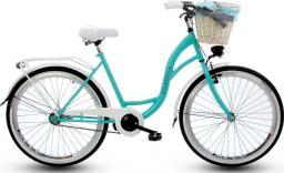 """Goetze Rower miejski Blueberry 26""""  biało-niebieski z metalowym koszem"""
