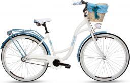 """Goetze Rower miejski Blueberry 28""""  + kosz metalowy biało-niebieski"""