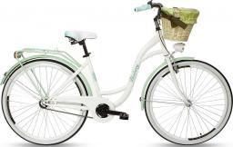 """Goetze Rower miejski Blueberry 28"""" biało-zielony z metalowym koszem"""