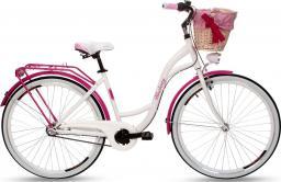 """Goetze Rower miejski Blueberry 28"""" trzybiegowy biało-różowy z metalowym koszem"""