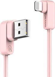 Kabel USB Usams Kabel kątowy U-flow Lightning 1,2m różowy US-SJ165 -IPUSBCY03