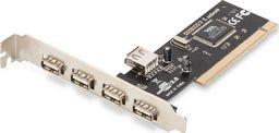 Kontroler Digitus Karta rozszerzeń/Kontroler USB 2.0 PCI, 4xZew. 1xWew. USB 2.0, Low Profile, Chipset: VIA 6212-DS-33221-1