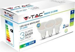 V-TAC V-TAC Żarówka punktowa x 3 zestaw LED VT-2095 GU10 50x57mm 5Wat 6400K 400lm IP20