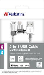 Kabel USB Verbatim Verbatim 2in1 Lightning/Micro B Stainless Steel Cable Sync & Charge