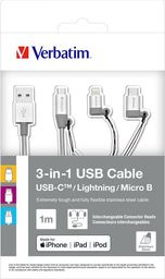 Kabel USB Verbatim Verbatim 3in1 Lightning/USB-C/Micro B Stainless Steel Cable Sync & Charge
