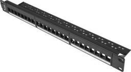 Lanberg Patch panel pusty 24 porty 1U 19 cali czarny do modułów keystone -PPKS-1024-B