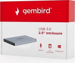 Kieszeń Gembird USB 3.0 na dysk HDD/SSD 2.5'' SATA, szczotkowane aluminium,szara (EE2-U3S-3-GR)