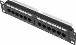 Lanberg Patch Panel 12 Port 1U 10 cali kategoria 5e czarny -PPU5-9012-B
