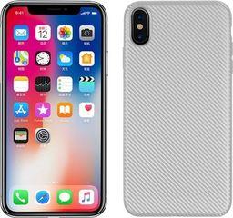 Etui Carbon Fiber iPhone Xr srebrny /silver