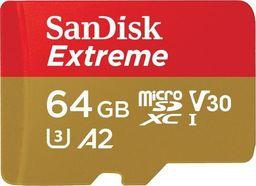 Karta SanDisk Extreme MicroSDXC 64 GB Class 10 UHS-I/U3 A2 V30 (SDSQXA2-064G-GN6MA)