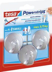 Tesa Tesa kabliukai PowerStrips Small Circle chrominiai matiniai 3 vnt.
