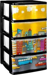 Regał z 4 szufladami Nadruk City 75cm