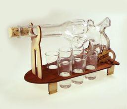 Karafka Rewolwer na alkohol 0,5 l z kieliszkami uniwersalny