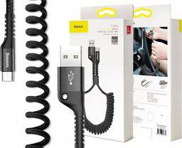 Kabel USB Baseus elastyczny kabel Fish eye spring USB-C Typ C 2A 1M czarny uniwersalny
