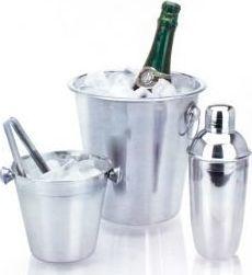 Zestaw barowy 2 x wiaderko do lodu, shaker, szczypce