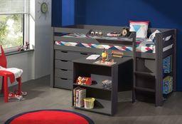 Vipack Drewniane łóżko piętrowe wielofunkcyjne dla dzieci Pino II - zestaw biurko , regał i komoda ,  sosna Taupe uniw