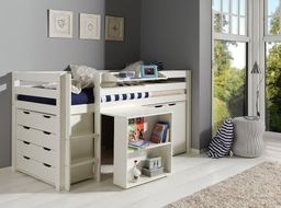 Vipack Drewniane łóżko piętrowe wielofunkcyjne dla dzieci Pino I - zestaw biurko , szafka  i komoda ,  sosna  Biała uniw
