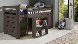 Vipack Drewniane łóżko piętrowe wielofunkcyjne dla dzieci Pino I - zestaw biurko , szafka i komoda , sosna Taupe uniw