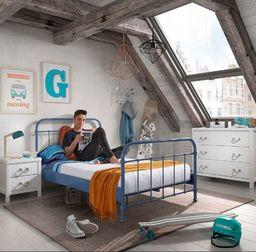 Vipack Metalowe łóżko dla dziecka New York NIEBIESKIE 128x212 cm uniw