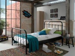 Vipack Metalowe łóżko New York CZARNE dla dziecka 212x128 cm uniw