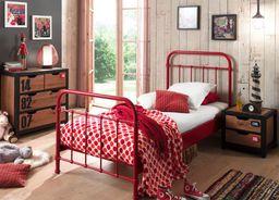 Vipack Metalowe łóżko New York dla dziecka - czerwone 96x212 cm uniw