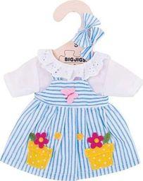 BigJigs Sukienka dla lalki 25 cm Niebieska  w paski  uniw