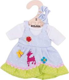 BigJigs Sukienka dla lalki 25 cm Niebieska sukienka w kropki z jelonkiem uniw