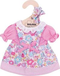 BigJigs Sukienka dla lalki 25 cm Różowa sukienka w kwiatki  uniw