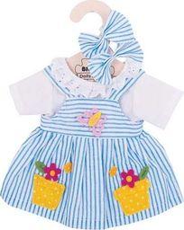 BigJigs Sukienka dla lalki 30 cm Niebieska sukienka w paski  uniw