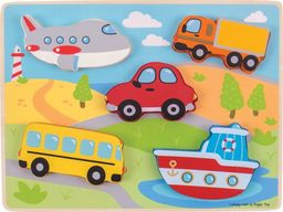BigJigs Transport  Puzzle drewniane do zabawy dla dzieci  uniw