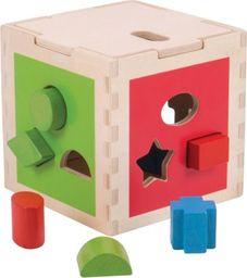 BigJigs Drewniany Sorter z kształtami CUBE  do zabawy dla dzieci uniw