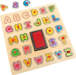 Small Foot Zestaw stempelków z literkami do nauki alfabetu dla dzieci, pomoce montessori uniw