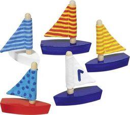Goki Drewniane łódeczki do zabawy w wannie i na plaży, zabawki kąpielowe uniw