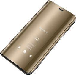 Hurtel Clear View Case futerał etui z klapką Samsung Galaxy A7 2018 A750 złoty uniwersalny